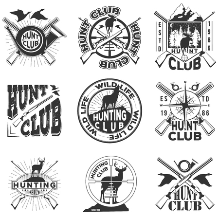 Vector monochrome set of badge hunting club for your design, print or internet on a white background