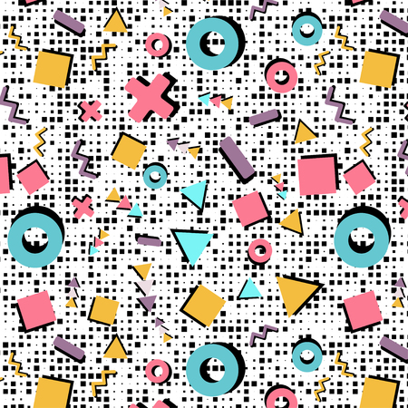 chrome: Vector seamless pattern in the style of the nineties. For digital and text printing on packaging, clothing, advertising, for your unique design and the Internet
