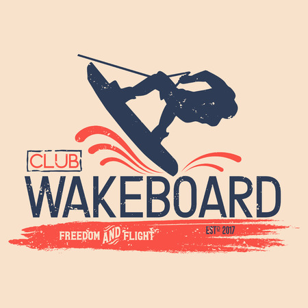 Vector logo wakeboard club in vintage style for your unique design, printing on T-shirts or the Internet Ilustrace