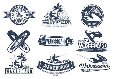 Vintage vector set of logos for the wakeboard club for your unique design, printing on a T-shirt, the Internet. 일러스트