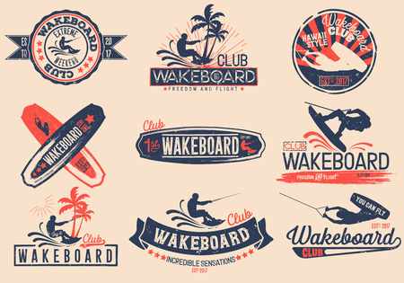 Vintage vector set of logos for the wakeboard club for your unique design, printing on a T-shirt, the Internet. Иллюстрация