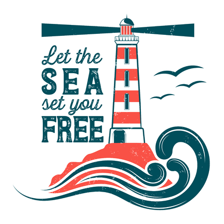 Badge sea theme for your design, print, print on T-shirt and internet
