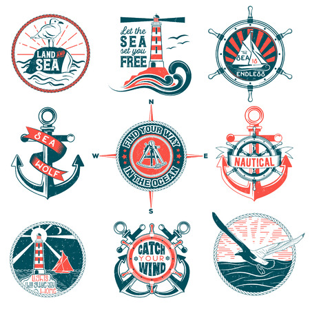shipbuilder: Set of badges with a general theme of the sea with the image of a wash, gulls, steering wheel, anchors for your design, printing, print on the T-shirt and the Internet.