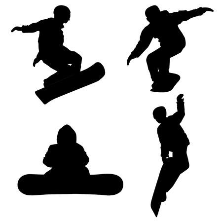 Set silhouetten van snowboarders voor uw ontwerp, print en internet