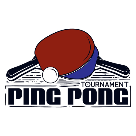 sports equipment: Logo design ping pong tournament for printing press and on T-shirts, publications on the Internet. Vector image Illustration