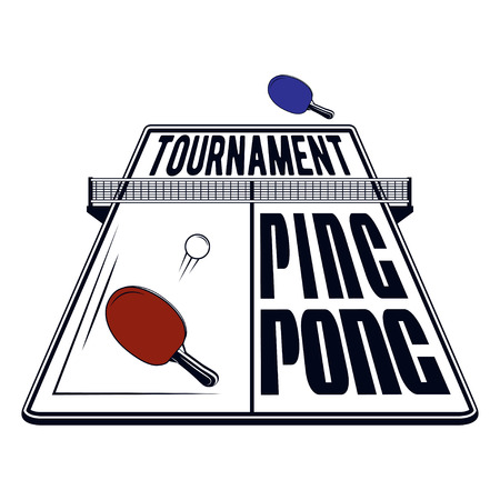 Logo design ping pong tournament for printing press and on T-shirts, publications on the Internet. Vector image Illustration