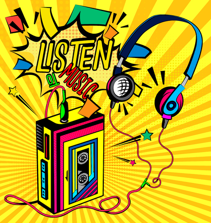 Retro poster cassette player and call to listen to music. Vector illustration