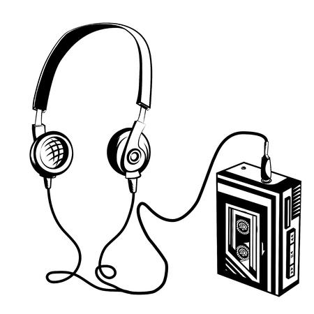 Retro cassette player. Vector illustration Illustration