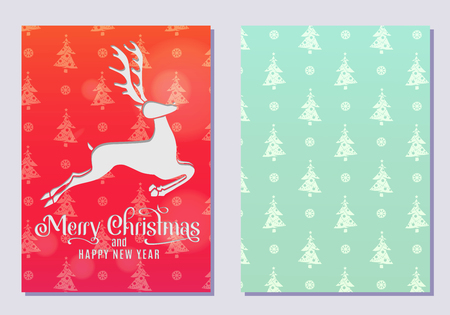 Design of a Christmas and New Year greeting card on both sides with a Christmas deer. Vector illustration Illustration
