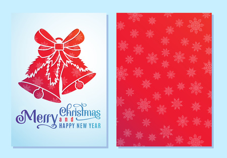 Design of a Christmas and New Year greeting card on both sides with bells and a bow. Vector illustration Stock Photo