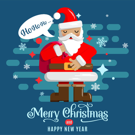 Christmas and New Year card design with a picture of cute Santa with a teddy bear. Vector illustration.
