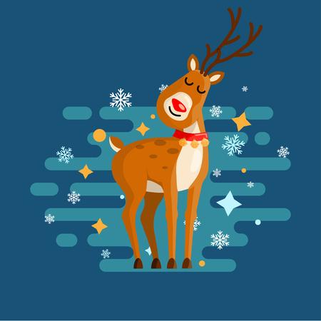 Merry Christmas deer for your festive design. Vector illustration.
