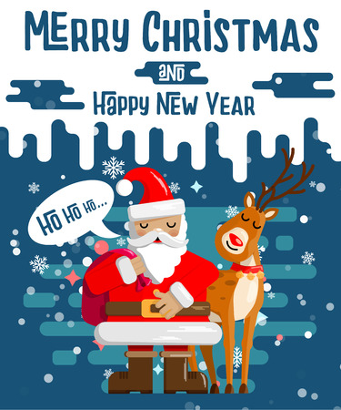 Design of Christmas and New Years cards cute cartoon Santa claus with a bag of gifts in his deer in snowy weather. Vector illustration. Иллюстрация