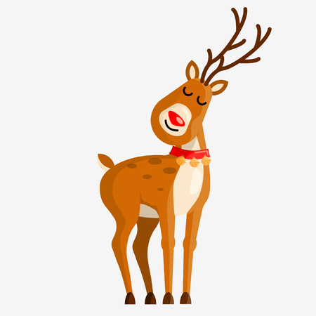 Cute cartoon deer character with bells for your design. Vector illustration. Illustration