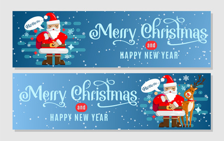 A set of Christmas banners with a sweet Santa and his reindeer for your design of an advertising campaign, a sale, a gift certificate or any other application. Vector illustration. Vettoriali