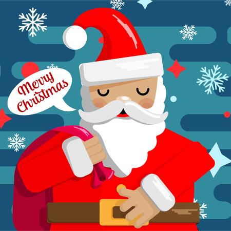 テディベアとキュートなサンタの絵とクリスマスと新年のカードのデザイン。ベクターイラスト。