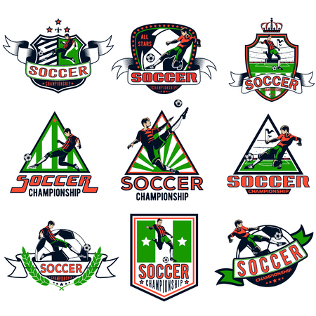 Set of colored soccer badges for your unique design.