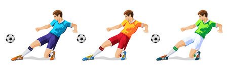 Player in soccer in three different colors isolated on white illustration. Иллюстрация