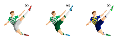 Player in soccer in three different colors isolated on white illustration. Vettoriali