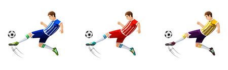Player in soccer in three different colors isolated on white  illustration.