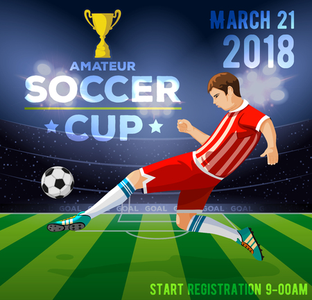 Soccer poster with a soccer player. Иллюстрация