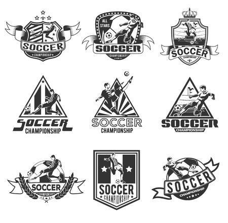 Set of soccer badges for your unique design.