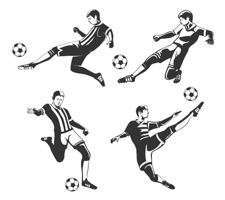 Vector set of monochrome football players isolated on white background.