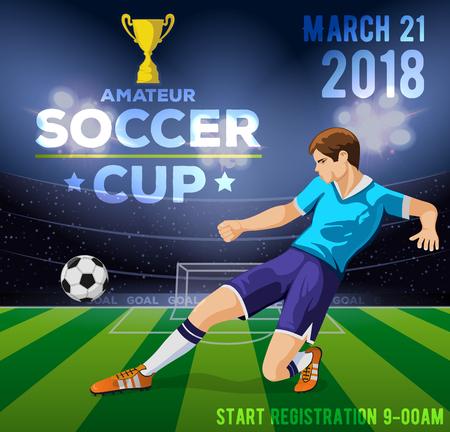 Voetbal poster met een voetballer op een achtergrond van een veld met een inscriptie amateur voetbal cup. Vector illustratie