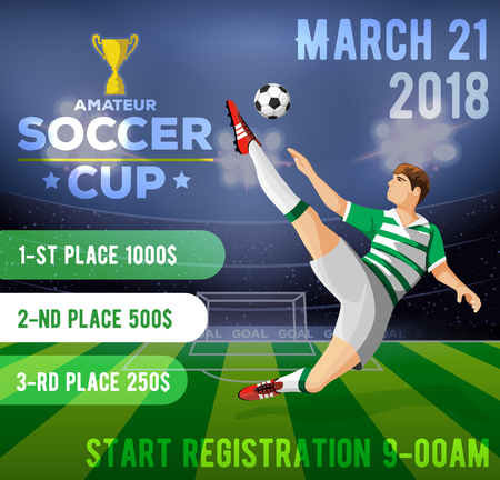 Soccer poster with a soccer player on a background of a field with an inscription amateur football cup. Vector illustration.