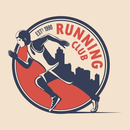 Unique logo design for a running club. a symbol for a sports organization, a tournament, a marathon. Vector illustration Иллюстрация
