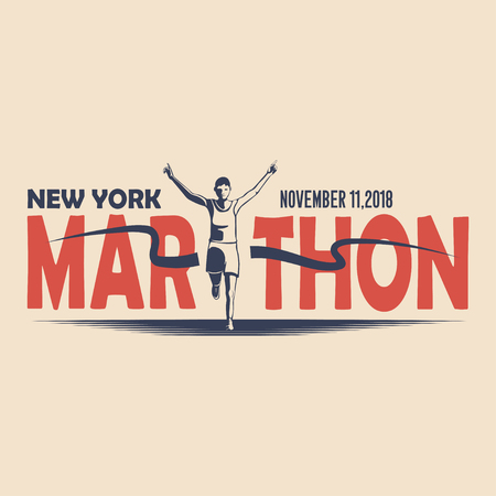 Unique design of the vector badge for the annual running marathon in New York. Vector illustration.