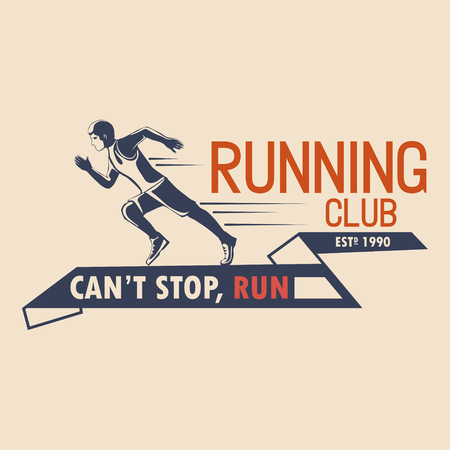 Unique logo design for a running club. a symbol for a sports organization. Vector illustration Vettoriali