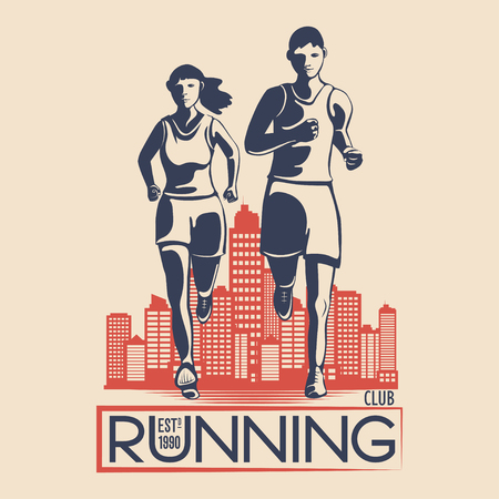 Unique logo design for a running club. a symbol for a sports organization. Vector illustration Иллюстрация