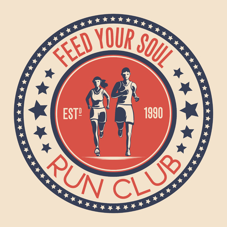Unique logo design for a running club. a symbol for a sports organization, a tournament, a marathon. Vector illustration