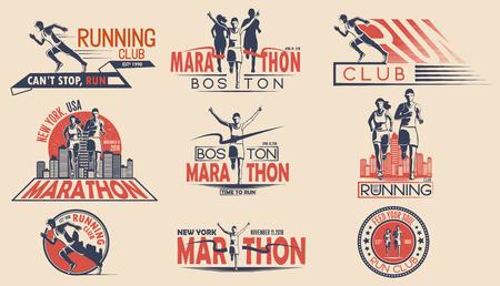 Zestaw projektów logo, odznak na turniej biegowy, drużyna sportowa, maraton. Ilustracji wektorowych.
