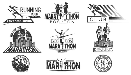 A set of monochrome design of logos, badges for a running tournament, a sports team, a marathon. Vector illustration. Vettoriali