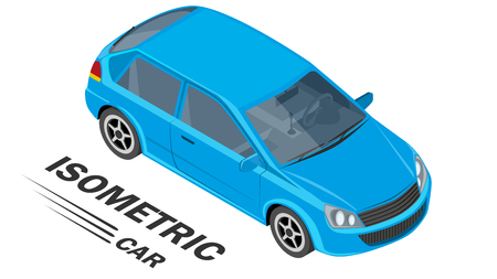 Isometric car is a parallel view of the camera. Vector illustration.