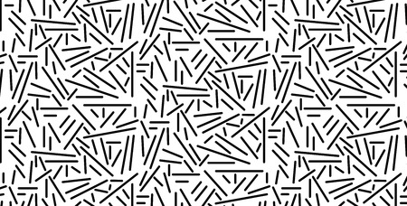 Vector illustration of a seamless black pattern of scattered sticks, isolated on a white background