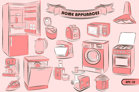 A set of home appliances in the sketch style for your unique design of printed products and the Internet. Vector illustration. Vettoriali