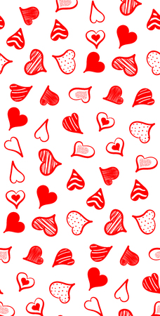 Vector illustration of a seamless pattern of red hand-drawn hearts isolated on a white background