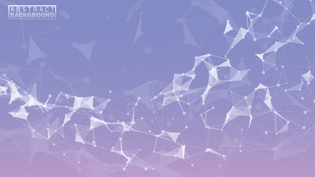 Design of an abstract background surface of lines of points and triangles. Plexus design. Vector illustration Иллюстрация