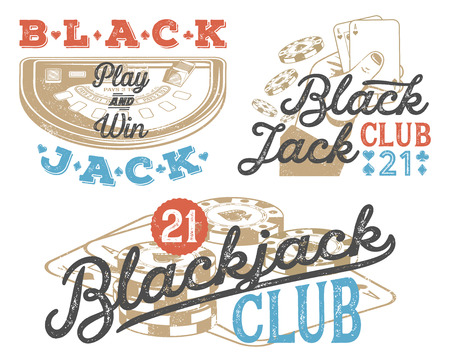 Set of vintage Blackjack badges for print on T-shirts, printed products and publications on the Internet. Vector illustration Vettoriali