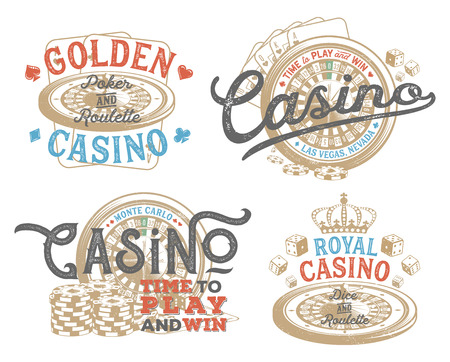 Vintage set of casino designs for print on T-shirts, printed products and publications on the Internet. Vector illustration