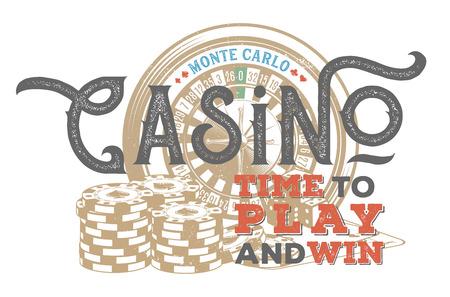 Vintage casino design for print on T-shirt
