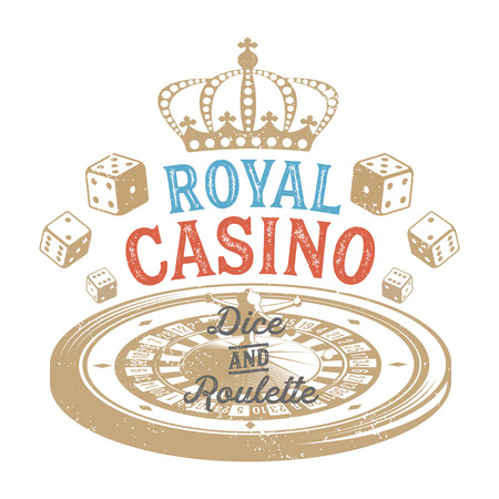 Vintage casino design for print on T-shirts Vettoriali