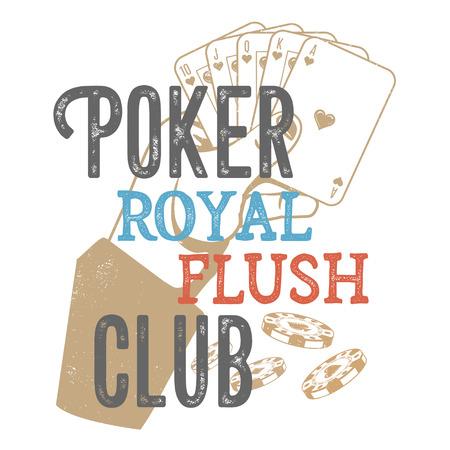 Vintage poker design for print on T-shirts