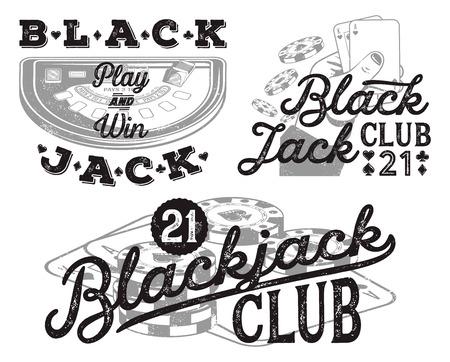Set of vintage Blackjack badges for print on T-shirts