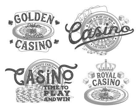 Vintage set of casino designs for print on T-shirts Vettoriali