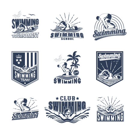Set of swimming badges for print on T-shirts Vettoriali