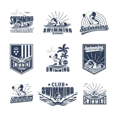 Set of swimming badges for print on T-shirts Иллюстрация